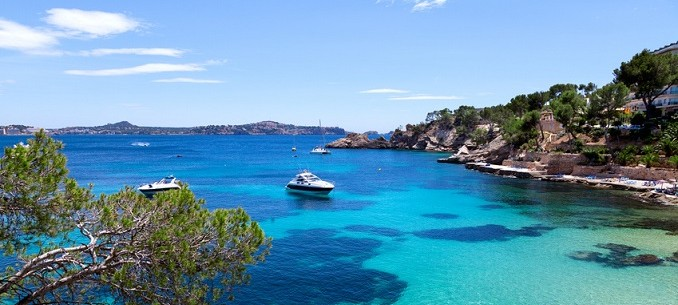Moored Yachts in Cala Fornells, Majorca
